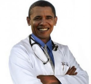 Obama dressed as a doctor