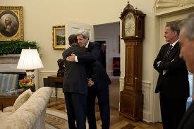 Obama and Kerry hug