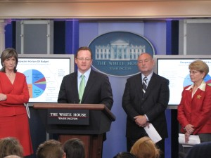 NOAA Administrator Jane Lubchenco, National Incident Commander Admiral Thad Allen and Assistant to the President for Energy and Climate Change Carol Browner join Press Secretary Robert Gibbs