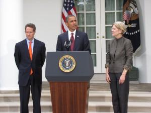 Geithner, Obama and Elizabeth Warren