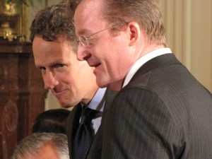 Geithner and Gibbs talk in the East Room