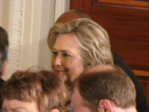 Secretary of State Hillary Clinton listens to Homeland Security Secretary Janet Napolitano