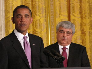 Obama and Pete Rouse in the East Room