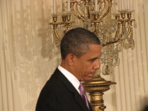 Obama emotional during Rahm's remarks in the East Room
