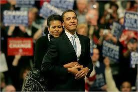 Michelle hugs Obama