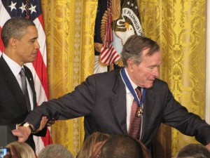 George H.W. Bush with Obama. Photo by Keith Koffler