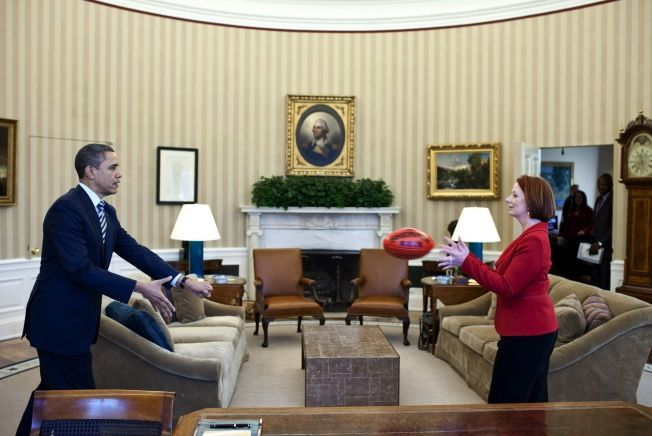 Obama and Australian Prime Minister Julia Gillard