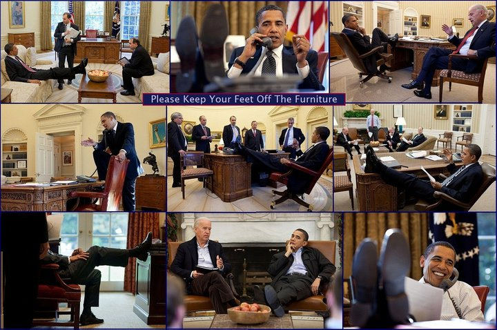 Obama with his feet up on the desk