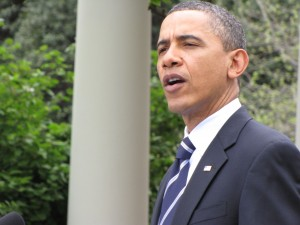 Obama appears to sing in the Rose Garden