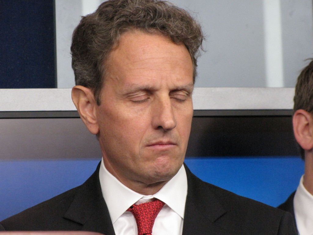 Geithner sleeping