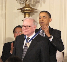Obama gives Warren Buffett the Medal of Freedom. Photo by Keith Koffler