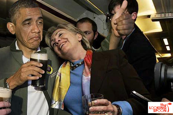 Exclusive! Obama, Hillary on Flight Home from Cartegena