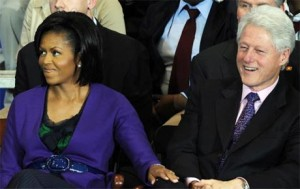 Bill Clinton and Michelle Obama