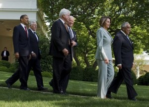 Obama escorts Democrats to the South Lawn to view the money trees.