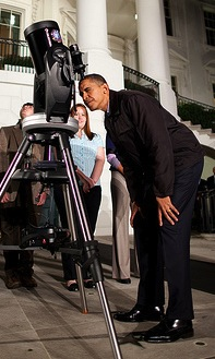 Obama pretends to check for asteroids himself