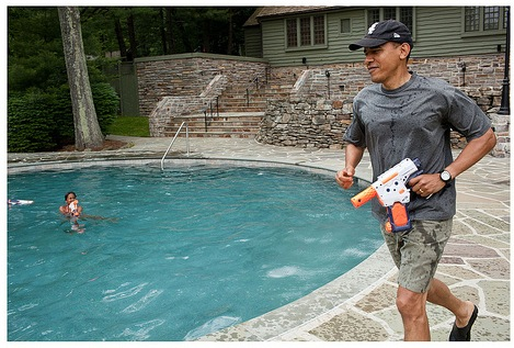 Obama with toy gun