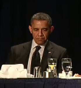 Screen shot of Obama at the prayer breakfast this morning.