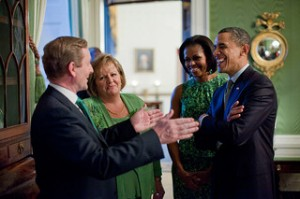 The Obamas and Kennys prepare to party last year