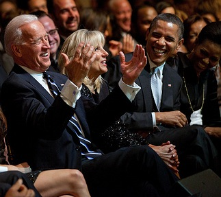 Biden, Obama laugh