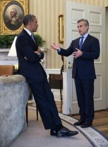 Obama and budget director Jeffrey Zients discuss methods for disguising gefilte fish