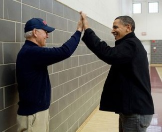 Biden Obama high five