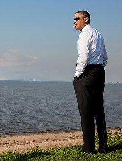 Obama at beach