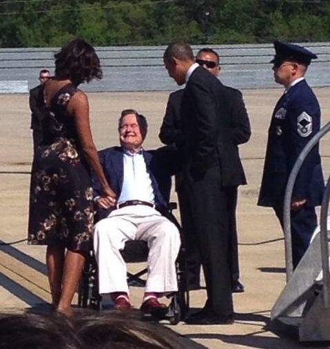The Obamas and George H.W. Bush