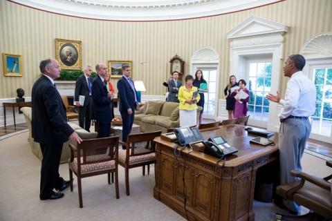 Obama and staff