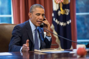 Obama talks on the phone