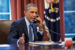 Obama talks on the phone