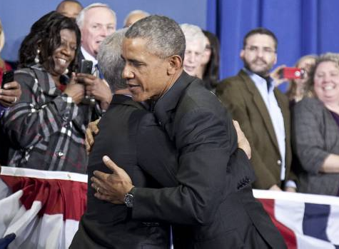 Rah gets a real hug to go with Obama's political embrace.