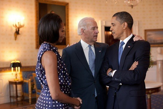 President Barack Obama, Vice President Joe Biden and First Lady Michelle Obama talk in the Blue Room of the White House before hosting a reception in honor of Jewish American Heritage Month, May 27, 2010. (Official White House Photo by Pete Souza) This official White House photograph is being made available only for publication by news organizations and/or for personal use printing by the subject(s) of the photograph. The photograph may not be manipulated in any way and may not be used in commercial or political materials, advertisements, emails, products, promotions that in any way suggests approval or endorsement of the President, the First Family, or the White House.